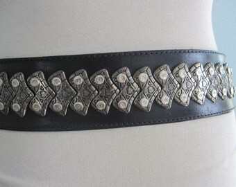 Vintage Black Leather Heavy Metal Belt by Mario Starace - 80s Rock n Roll Leather and Silver Metal Belt - Vintage 1980s Belt