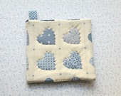 vintage fabric blue hearts hand quilted insulated potholder with loop to hang