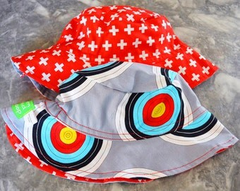 Bullseye Reversible Bucket hat, baby sunhat, boys sun hat, summer hat, boys summer hat, baby sun hat, summer hat, bucket hat