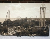 """Cedar Point Amusement Park View of Roller Coasters and Thrill Rides 30""""x20"""" Canvas Print"""