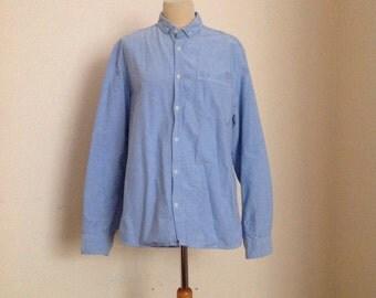 Vintage Light Blue Canvas Button Down Shirt Mens Urban Casual L Large