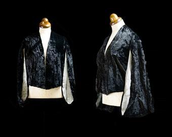 Original Vintage 1930s Black Velvet Kimono Evening Jacket - FREE SHIPPING WORLDWIDE