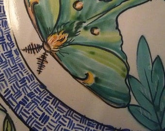 Majolica pottery - Luna moths - round ceramic decorative platter - whimsical hand painted - Nature inspired - wedding gifts - house warming