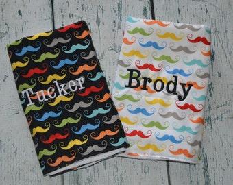 Personalized Mustache Burp cloth set of 2 Monogram Baby Burpie burpcloth