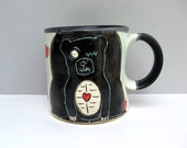 Zombie Bear Mug, Black And White with Hearts, Coffee Mug or Tea Mug, Animal Pottery, Woodland Animal Zombie Love