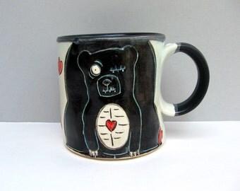 Zombie Bear Mug, Black And White with Hearts, Coffee Mug or Tea Mug, Animal Pottery, Woodland Animal Zombie Love