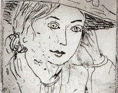 Her Face, portrait of a woman in a straw hat. Black and white limited edition etching, wall art, decor