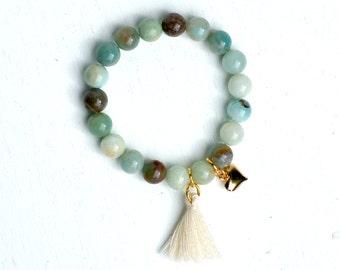 Beaded Amazonite Bracelet Tassel Heart Gemstone Bracelet Bohemian Yoga Zen Light Blue Festival Jewelry