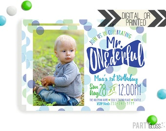 Mr. ONEderful Birthday Invitation | Digital or Printed | Blue Green Invitation | Mr. Wonderful Invitation |  Onederful Invite | Little Man
