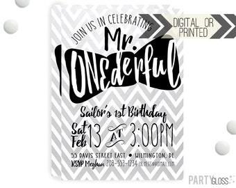 Mr. ONEderful Chevron Invitation   Digital or Printed   Mister Onederful Invitation   Mr. Wonderful Invitation    Onederful Invite   Chevron