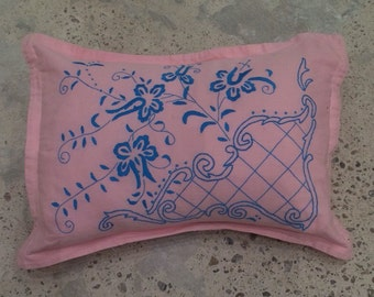 Pink Pillow Sham with Turquoise Embroidery - Floral Stitch - Boho Girl Bed - Pink Accent Pillow - Mexican Vibe - Bohemian Collected Style