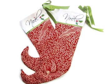 Personalized Noel Christmas Stockings - Elf Style - Hand Embroidered- Wooden Name Disk - Ready to Mail