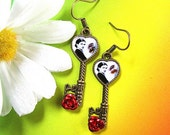 Frida Kahlo Heart Key earrings aretes one of a kind mexican folk altered art collectible mexico arte