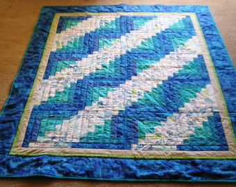 Scrappy Blue Log Cabin Quilt