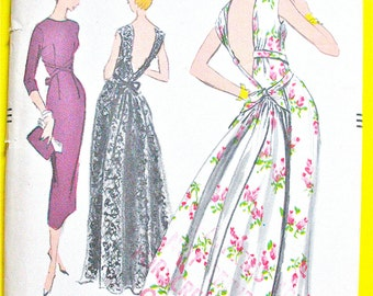 Vogue 9061 Uncut 1950s Evening Gown Pattern Low V Back Fitted Bodice Gathered Printed Pattern Vintage Sewing Pattern Bust 31 inches