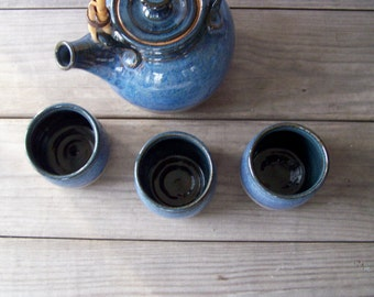 Vintage Stoneware Tea Set ~ Teapot and 3 Mugs ~ Studio Pottery ~ Blue and Grey