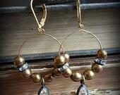 Vintage Brass Lucite Hoop Earrings
