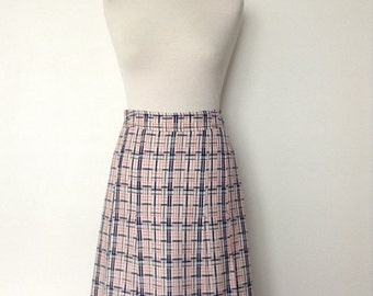 SUMMER SALE French vintage 1970s pleated checked skirt - white red and blue - medium M