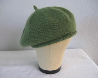 Light Olive Beret. Extra Fine Merino Wool and Angora. Hand Knit French Beret. Fall and Winter Accessories.