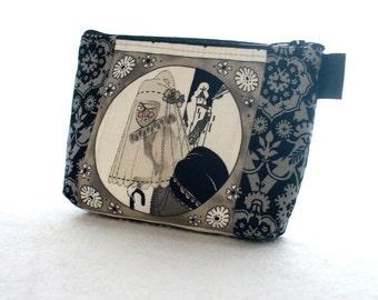 The Ghastlies Halloween Fabric Makeup Bag Cosmetic Bag Fabric Zipper Pouch Gadget Pouch Alexander Henry Gray Widow Ghastlie Old Crone GGS