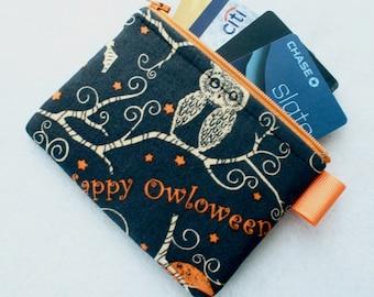 Cute Owl Halloween Fabric Credit Card Case Zipper Coin Purse Wallet Business Card Holder Happy Owloween Bats Stars Moon Black and Orange