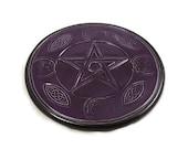 Pentagram  Pentacle Altar Tile Handmade Pottery Purple Celtic Design