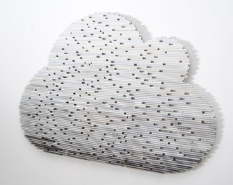 rain CLOUD - grey and white - made from recycled magazines, dark grey to white ombre, gift idea, spring, calm, nursery, rain cloud, rainy