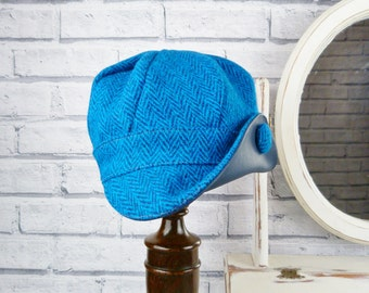 READY TO SHIP Harris Tweed and Leather Newsboy Hat - Teal tweed - womens hat, womens cap