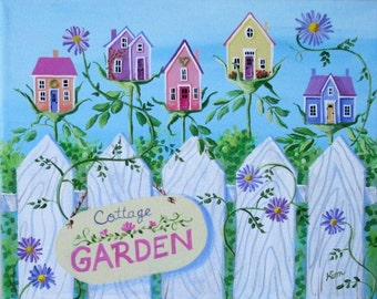 Cottage Garden Folk Art Painting FREE Shipping