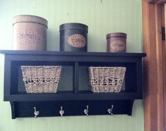 "2 Cubby Wall Shelf Country Shelf for Baskets Bath Or Entryway W Hooks 30"" Wide Black"