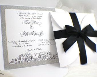 Black and White Wedding Invitations / Glam / Glitter / Pochette / Fabulous / Gorgeous Invitation / Classic / Lux Invitation / Crystals