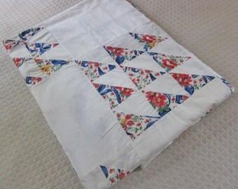 Vintage quilt top, 1930s unfinished quilt, unfinished patchwork, Flying Geese, depression era decor, home made quilt, antique quilt topper,