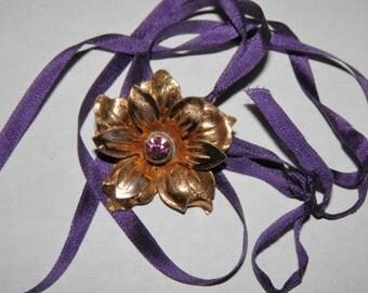 Found Treasures Charm Necklace Antique Gold Flower Violet Purple Rhinestone Pendant on Silk Ribbon Vintage Findings OOAK