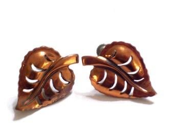 Copper Earrings, Leaf Jewelry, Vintage Copper LEAF Earrings, Copper Screw Back Earrings, Cutout Leaf Earrings, Nature Jewelry