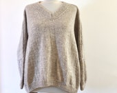 Beige Slouchy Bulky Sweater, Oversized Sweater, Chunky Knit Sweater, Loose Fit Sweater, Long Sleeve