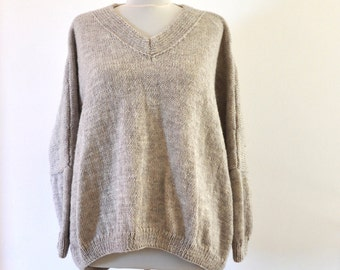Beige Slouchy Bulky Sweater, Oversized Sweater, Chunky Knit Sweater, Loose Fit Sweater