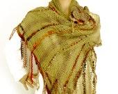 Knit scarf,  Knit stole, Loose knit stole, Fall scarf, Prayer shawl, Boho shawl, Fall fashion trend, Freeform crochet, Flower leaf brooch