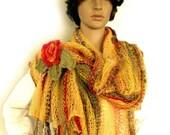 Knit scarf, Fall scarf, Knit stole, Loose knit scarf, Prayer shawl, Boho shawl, Fall accessory trend, Freeform crochet, Flower leaf brooch