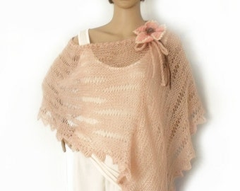 Knit poncho, Loose knit poncho, Boho poncho, Knitted cape, Summer poncho, Flower corsage, Freeform crochet, Fashion trend, Wedding cape