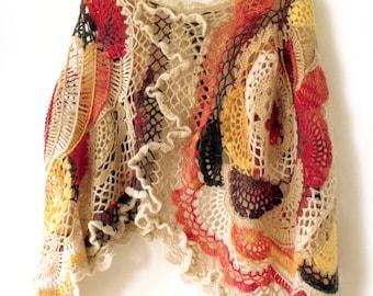 Crochet cape, Freeform crochet, Crochet poncho, Boho cape poncho, Hippy gypsy poncho, Crochet stole, Autumn cape, Fall poncho, Trendy outfit