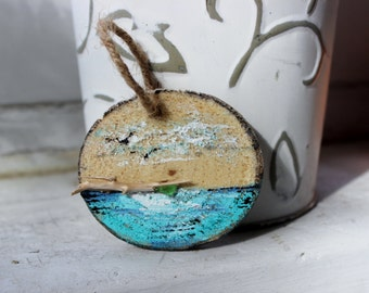 Beach Holiday Driftwood Slice Ornament Hand Painted & Signed Limited Edition Series for Nautical Themed Tree