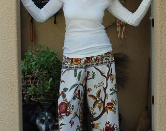 "Hippie Pants- White Tree of Life  -Length 41""  Hips 54"" -"