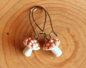 Ceramic MUSHROOM Earrings - Handmade Red & White Porcelain Amanita Mushroom Earrings - Spotted Mushrooms - Ready To Ship