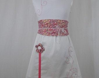 Omael white fairy dress and pink belt and obi