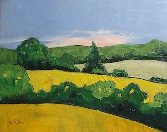 Impressionist Painting California Landscape Plein Air MORNING HILLS Lynne French 16x20