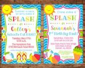 Boy or Girl Pool Splash Swimming Swim Beach Ball Flip Flops Summer Party Birthday School's Out Invitation - DIGITAL FILE