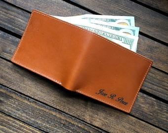 Mens Leather Wallet - Leather Bifold Wallet - Engraved Wallet - Tan MC