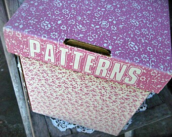 Vintage sewing patterns box, 2 wedding dress patterns, pink floral box, 1960's pattern box, pink pattern box, seamstress supply