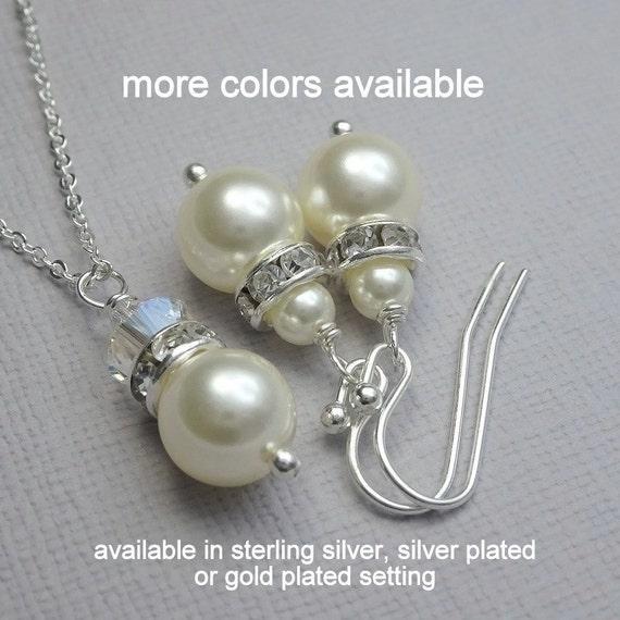 Set of 5 Bridesmaid Jewelry Set,  Swarovski Ivory Cream Pearl Bridesmaid Jewelry Set, Wedding Jewelry Set, Personalized Bridesmaid Gift
