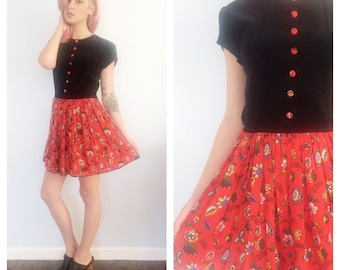 Vintage 60s Floral Pleated Mini Dress